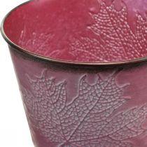 Cache-pot à décor de feuilles, décoration automne, cache-pot en métal rouge vin Ø16.5cm H14.5cm