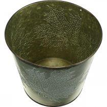 Seau déco à décor de feuilles, pot d'automne, décoration métal vert Ø17cm H14.5cm