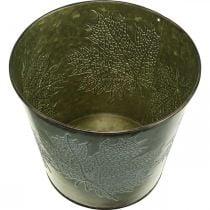 Cache-pot avec décoration d'automne, décoration en métal, jardinière d'automne verte Ø18.5cm H17cm