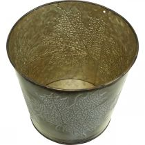 Pot d'automne, cache-pot avec feuilles, décoration métal doré Ø16.5cm H14.5cm