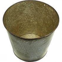 Jardinière pour l'automne, seau en métal à décor de feuilles, vase en métal doré Ø14cm H12.5cm