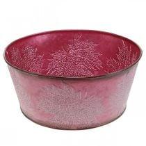 Jardinière pour l'automne, vase en métal à décor de feuilles, pot décoratif vin rouge Ø25cm H11cm