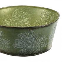 Jardinière avec feuilles d'érable, décoration automne, vase en métal vert Ø25cm H11cm