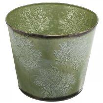 Jardinière, pot en métal avec feuilles d'érable, décoration automne vert Ø25.5cm H22cm