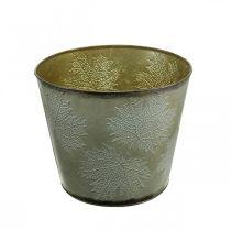 Cache-pot, décoration automne, vase en métal avec feuilles dorées Ø25.5cm H22cm