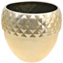 Jardinière en céramique gland doré décoration de Noël Ø18cm H16.5cm
