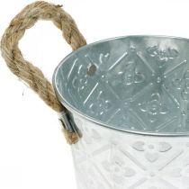 Cache-pot avec motif fleuri, vase en métal, cache-pot avec anses Ø12cm