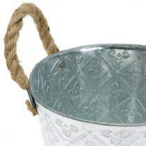 Jardinière en métal, jardinière à motif fleuri, bol décoratif argenté Ø16,5cm