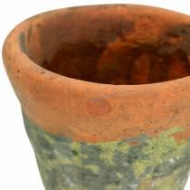 Cache-pot vintage en argile naturelle Ø14.5cm H12cm 2pcs