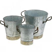 Cache pot métal avec anses déco vintage Ø26/20/17cm lot de 3