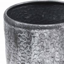 Cache-pot ancien en zinc argenté Ø22 / 26 / 30cm lot de 3