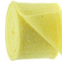 Bandeau à pots de fleurs en feutrine, jaune à pois 15 cm x 5 m