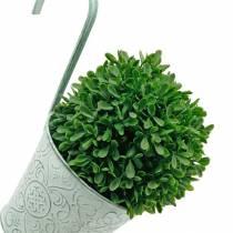 Pot de fleur à suspendre look vintage Cache-pot vert lavé blanc Ø11,5cm