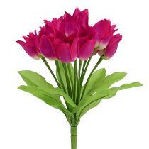 Piquet de tulipes fuchsia L 30 cm