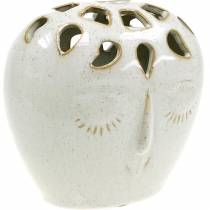 Vase en céramique crème pour le visage, beige H13cm aspect grès 1p
