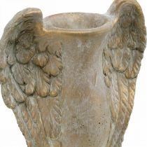 Vase déco en béton, amphore aux ailes d'ange doré look vintage L20,5cm H26cm