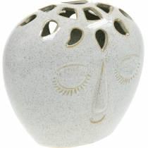 Vase avec crème pour le visage, beige H18cm aspect grès 1p