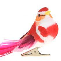 Oiseau sur clip fuchsia, rose 15 cm 12 p.