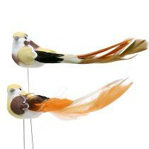 Oiseaux sur fil de fer brun/orange 14 cm 12 p.