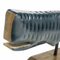 Décoration baleine en bois avec base grise, naturel 26cm