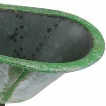Baignoire décorative en métal utilisé argent, vert 44,5cm x18,5cm x 15,3cm