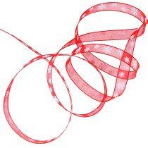 Ruban de Noël rouge avec flocon de neige 10mm 20m
