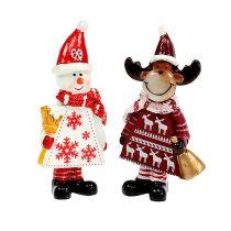 Figures de Noël élan, genre bonhomme de neige. 9cm 2pcs