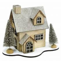 Maison de Noël avec éclairage LED nature, bois scintillant 20 × 17 × 15cm
