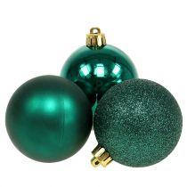Mélange de boules de Noël vert émeraude Ø 6 cm 10 p.
