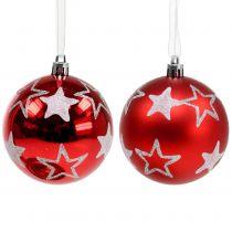 Boules de Noël avec étoiles rouge 2 p. Ø 8 cm
