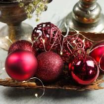 Boule de Noël rouge foncé Ø 6 cm 16 p.
