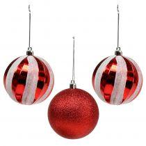 Boules pour sapin de Noël matière synthétique rouge, blanc Ø 8 cm 3 p.