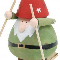Figurine décoration Gnome sur ski bois Figurine Gnome de Noël H13cm