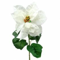 Poinsettia, fleur artificielle blanche 67cm