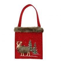 Sac de Noël rouge avec fourrure 15,5cm x 18cm 3pcs