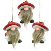 Pixies décoratifs en céramique à accrocher avec chapeau champignon rouge, blanc H8cm 4pcs