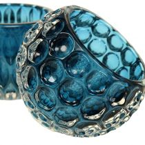 Lanternes en Verre Bleu Foncé Ø8cm H6cm 2pcs
