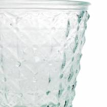 Lanterne en verre avec socle transparent Ø13,5cm H18cm décoration de table d'extérieur