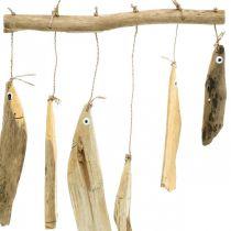 Décoration poisson maritime, carillons éoliens en bois flotté, décoration bois L50cm W30cm