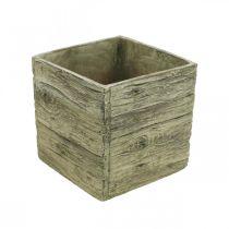 Pot de fleurs carré 18x18cm caisse béton aspect bois
