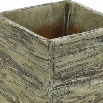 Pot de fleurs carré 15x15cm cache-pot béton aspect bois