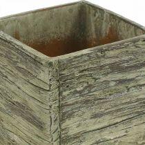 Pot de fleurs carré 12x12cm cube béton aspect bois
