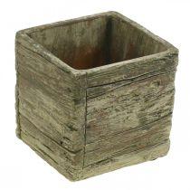 Cache-pot carré 9.5x9.5cm cache-pot béton aspect bois
