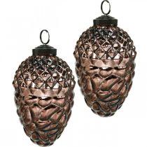 Cônes à suspendre, décorations d'arbres, verre véritable, décorations d'automne, optiques anciennes Ø7cm H11,5cm 6pcs