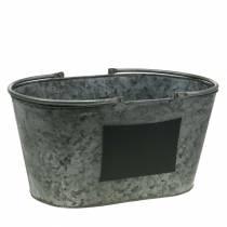 Jardinière en zinc avec poignées ovale gris H20cm