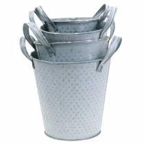 Pot en zinc avec poignées gris pointillé Différentes tailles