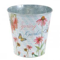 Pot de fleur métal fleurs printemps décoration jardinière Ø15cm H15.5cm