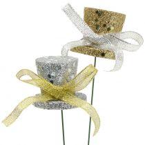 Piques chapeau haut-de-forme or, argent 3 cm 2 p.