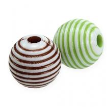 Perles déco, vert/marron Ø2cm 53P