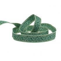 Ruban de cadeau en baies jacquard avec bordure en fil vert foncé, menthe 25mm L15m